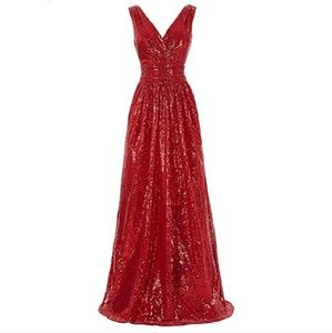 Red Sequined Ball or Gala Gown